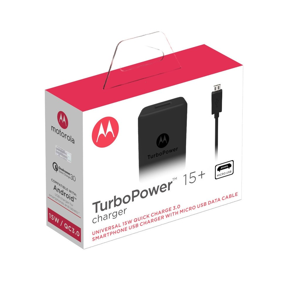 Motorola TurboPower 15+ Wall Charger + Micro-USB Data Cable