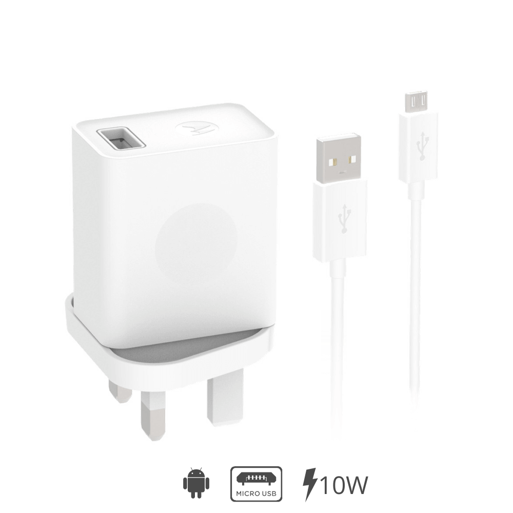 Motorola Rapid USB Mains Mobile Charger + Micro-USB Cable