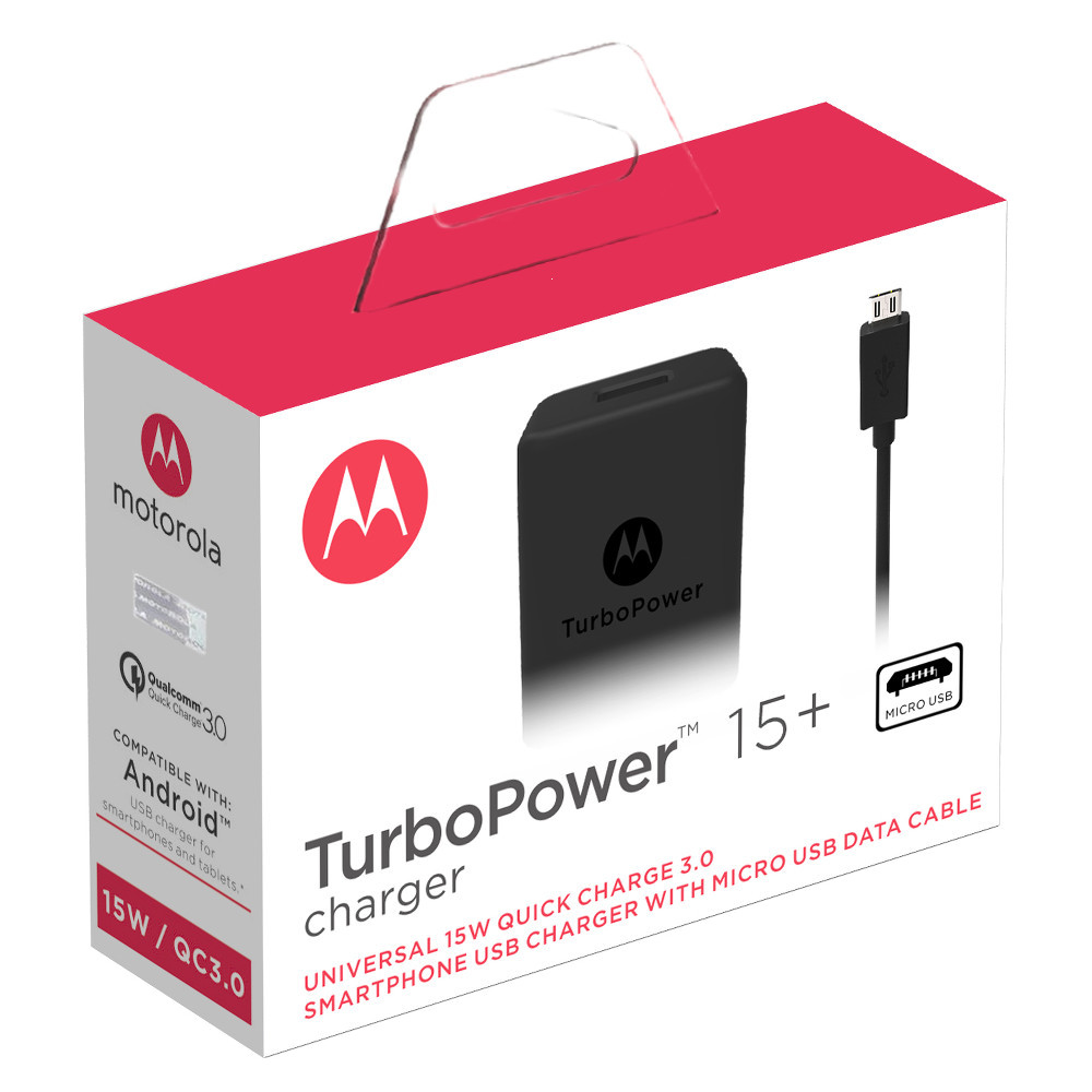 Motorola TurboPower 15+ Mobile Wall Charger + Micro-USB Cable