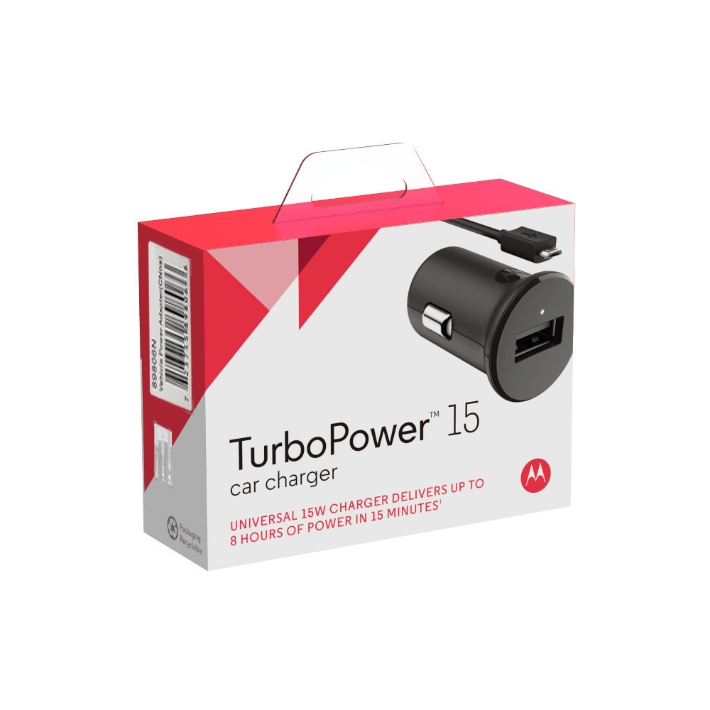 Motorola TurboPower 15 Mobile Car Charger + Micro-USB Cable